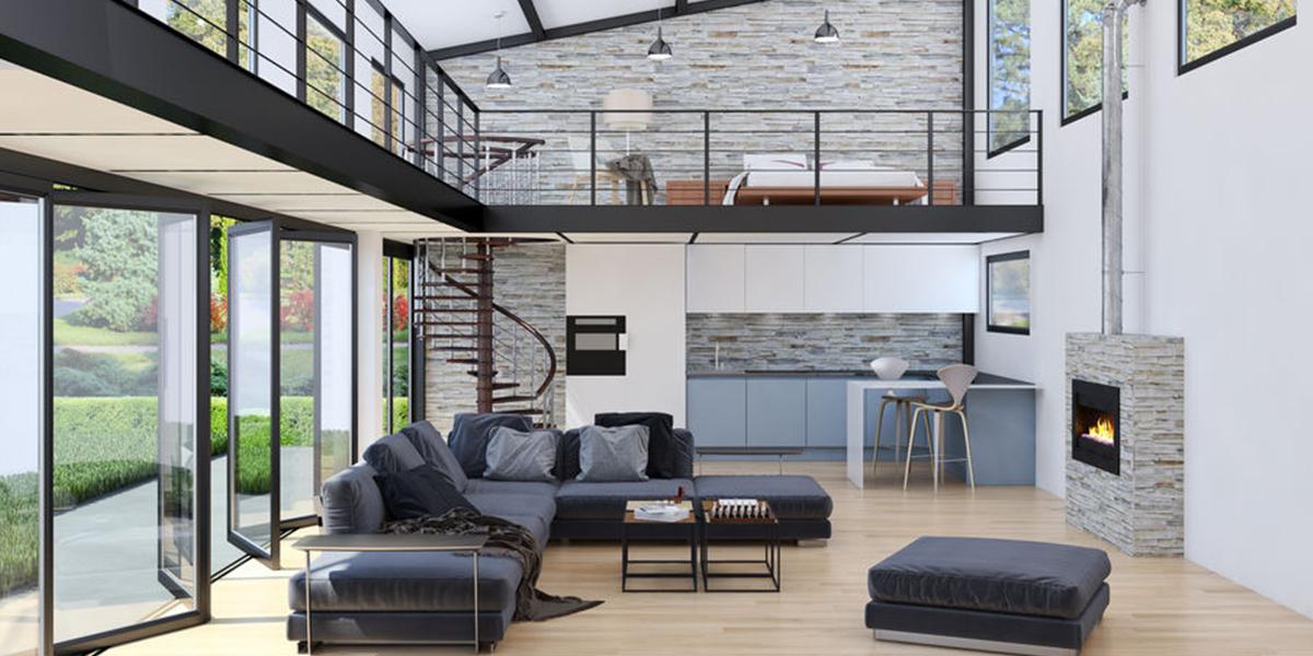 Intérieur maison moderne grandes baies vitrées