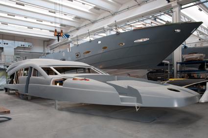 Collage pont coque d'un yacht
