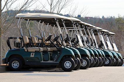 Flotte de voiturettes électriques de golf